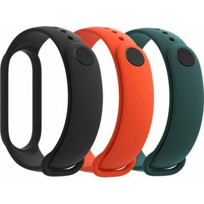 Xiaomi 3x Λουράκια Σιλικόνης Black / Orange / Dark Green (Mi Band 5)