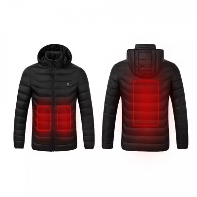 Θερμαινόμενα μπουφάν Black με υποδοχή USB για σύνδεση με Powerbank