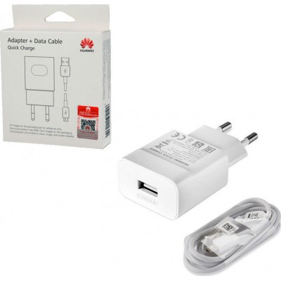 Huawei micro USB Cable & Wall Adapter Λευκό (AP32) Fast Charger (Blister)