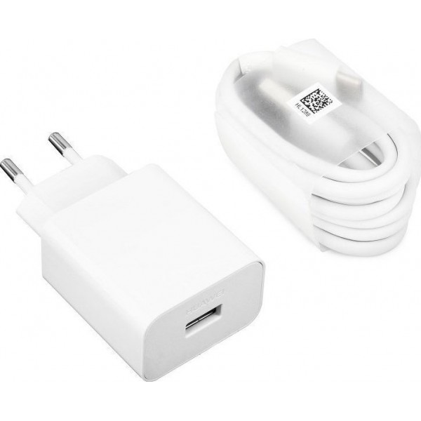 Huawei USB-C Cable & Wall Adapter Λευκό Super Charge 5Α (HW-050450E00)