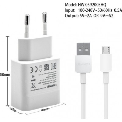 Huawei micro USB Cable & Wall Adapter 2A Λευκό (HW-059200EHQ) Retail