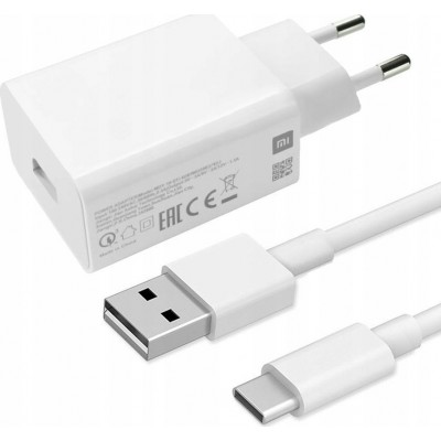 Xiaomi USB-C Cable & USB Wall Adapter Λευκό (MDY-10-EF)