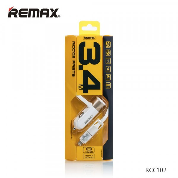Car Charger Remax 3.4A 2 in 1  Cable RCC102 White