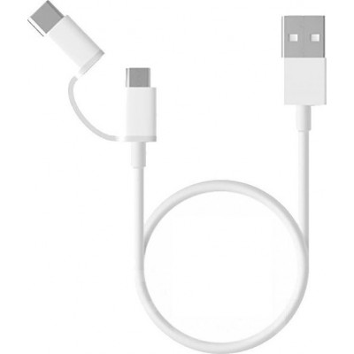 Καλώδιο Xiaomi Mi 2-in-1 Usb to micro Usb/Type C White 30cm (SJV4083TY)