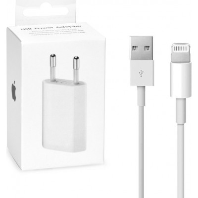 Apple Lightning Cable & Wall Adapter Λευκό (A1400 + MD818)