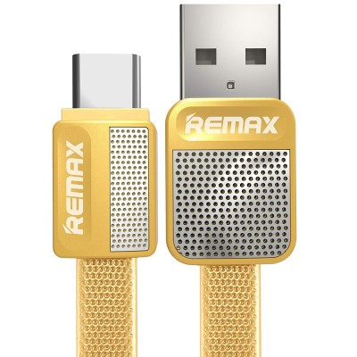 Remax Flat USB 2.0 Cable USB-C male - USB-A male Κίτρινο 1m (Platinum)